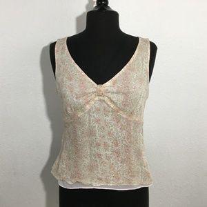 Ann Taylor Layered Silk Floral V-Neck Top Sz 12P